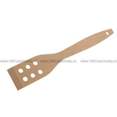 Деревянная лопатка для кухни с отверстиями 24,5 см