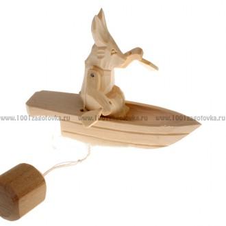 """Богородская игрушка  """"Зайка в лодке"""""""
