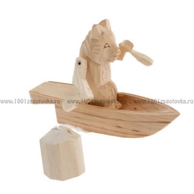 """Деревянная богородская игрушка  """"Мишка в лодке"""""""