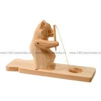 """Деревянная богородская игрушка """"Мишка рыбачит"""""""