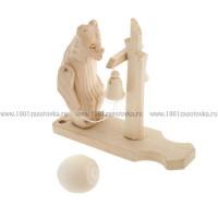 """Деревянная богородская игрушка """"Мишка с колоколом"""""""