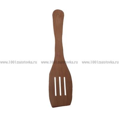 Деревянная лопатка для кухни с отверстиями 28 см