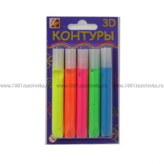 """Набор красок декоративных """"Контуры 3D"""" 5 цветов"""