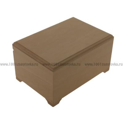 Деревянная заготовка шкатулка плоская с фрезой 22 х 15,5 х 12,3 см