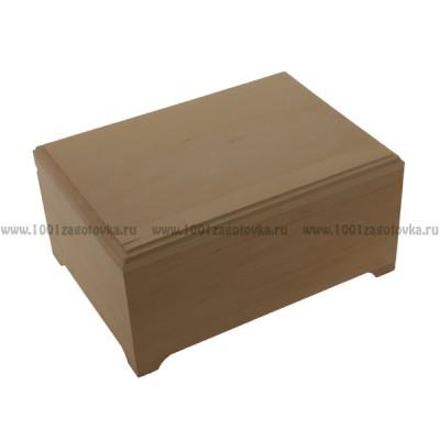 Деревянная заготовка шкатулка плоская с фрезой 25 х 18 х 12,3 см