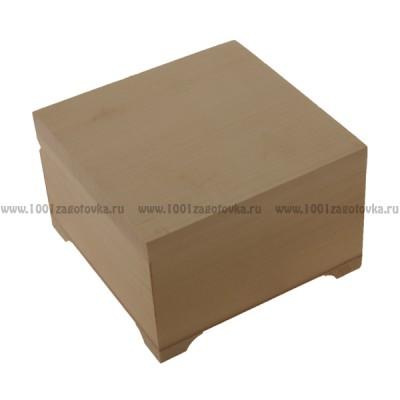 "Деревянная заготовка шкатулка плоская ""Кубик"" 10 х 10 х 8 см"