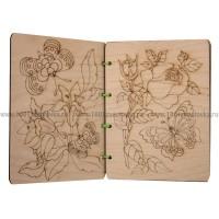 """Раскраска по дереву """"Цветы и бабочки"""" (4 листа на шнуровке)"""